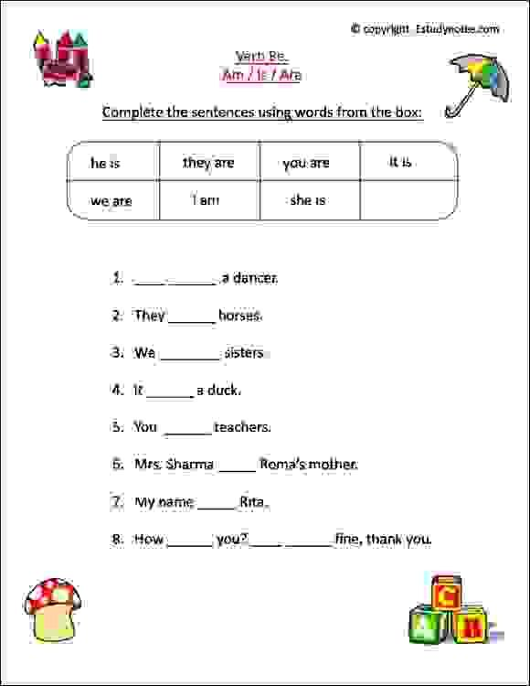 am is are worksheets pdf