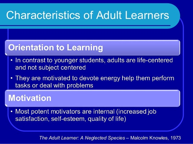 the adult learner a neglected species pdf