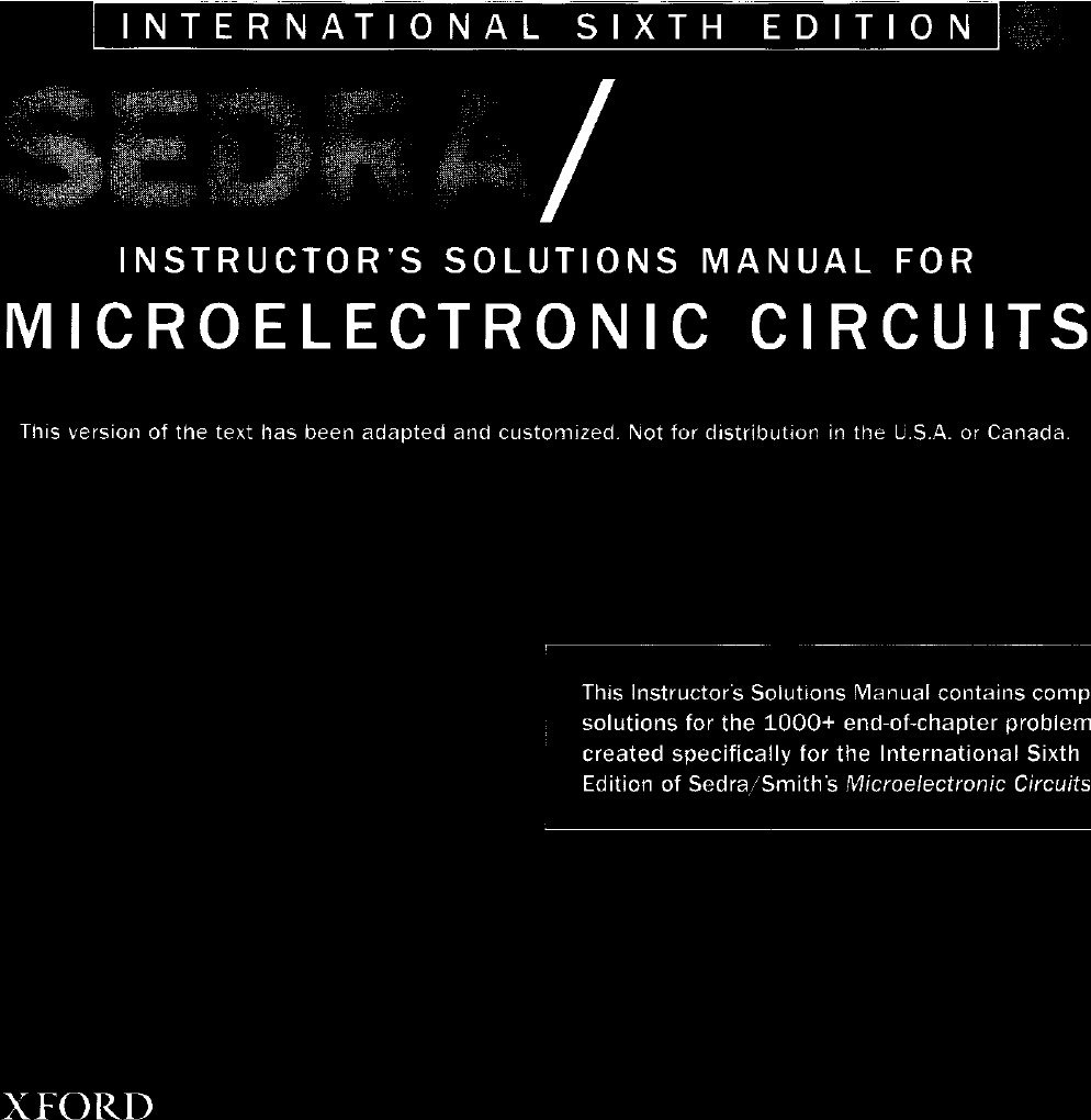 sedra smith microelectronic circuits international 6th edition solution manual