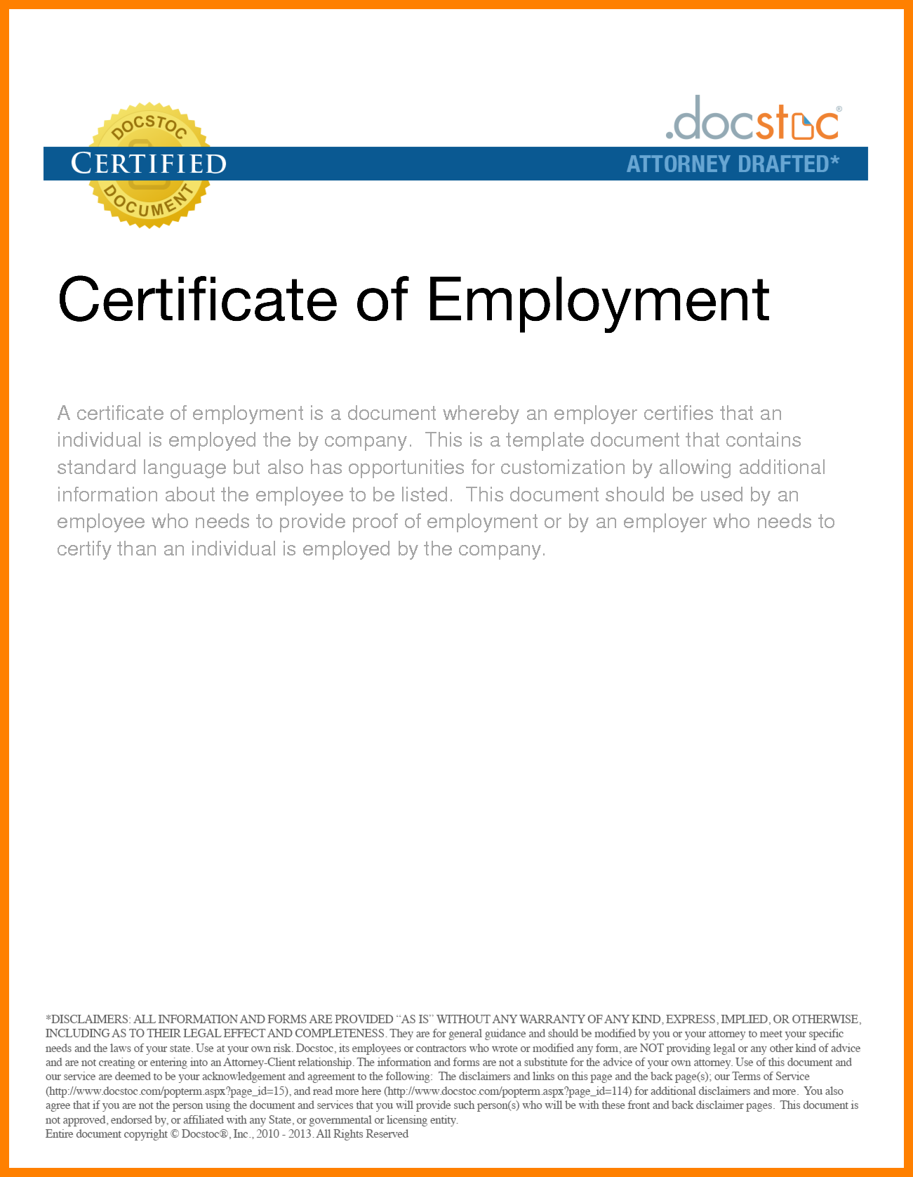 certificate of employment sample pdf