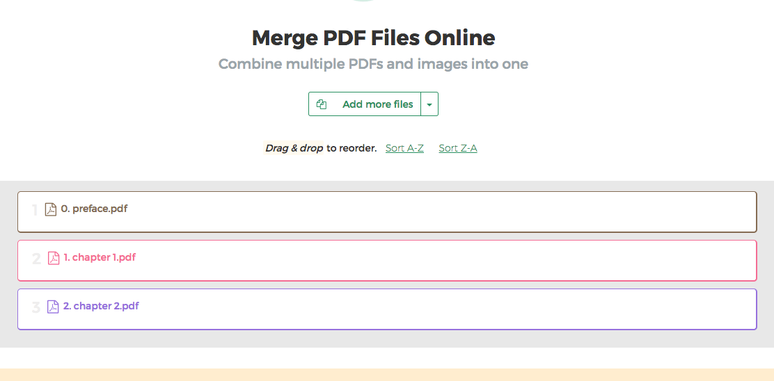 merge pdf into one page online