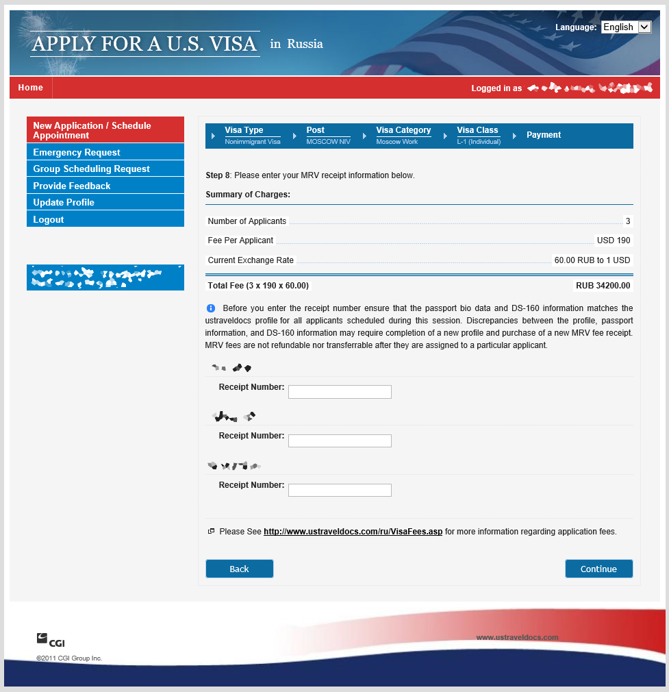 online nonimmigrant visa application ds 160 fee payment