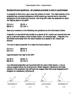 projectile motion multiple choice questions and answers pdf